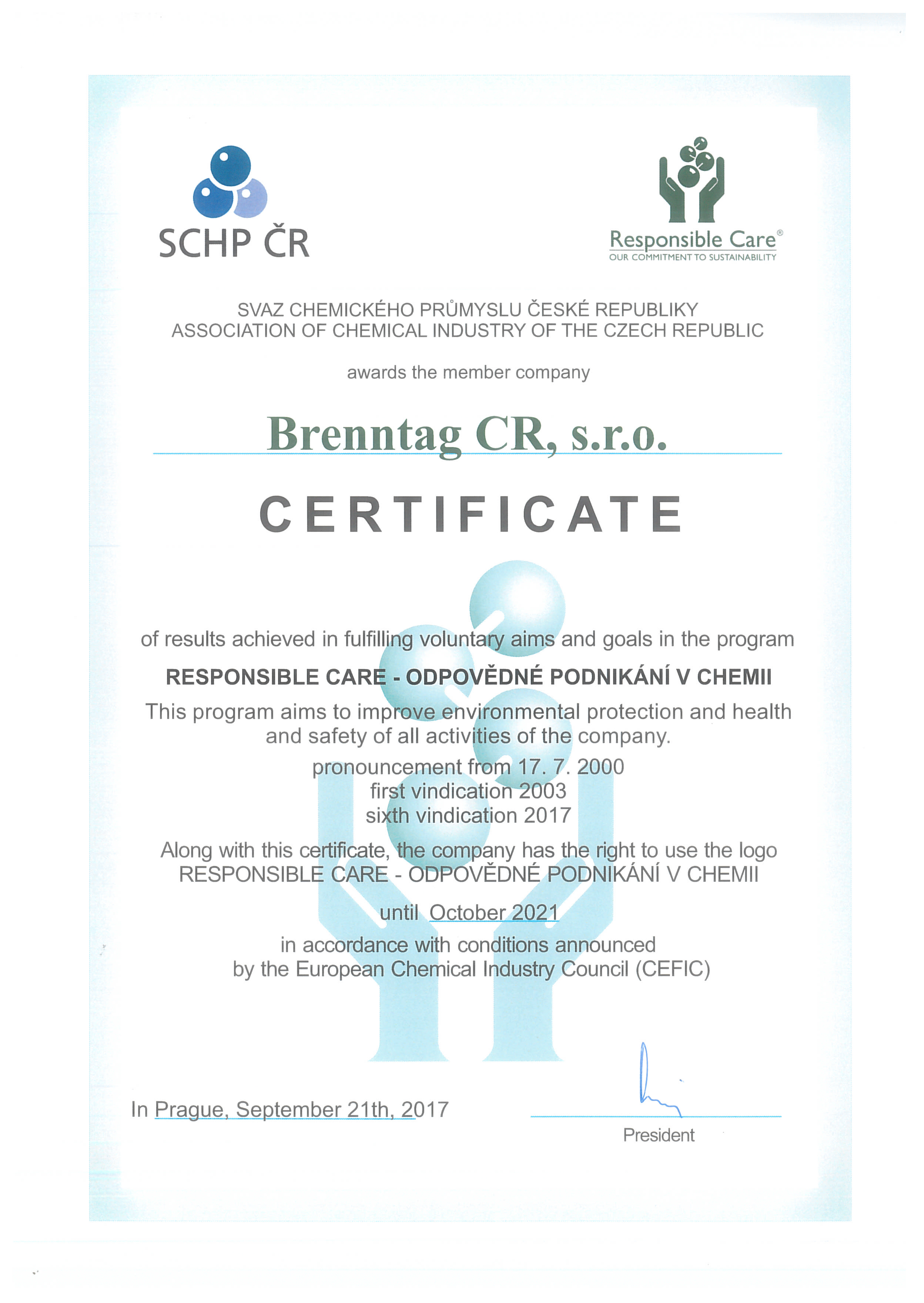 Quality brenntag which aim is to improve safety and limit chemical industry influence on the environment brenntag cr participates in this program for a couple of years 1betcityfo Gallery