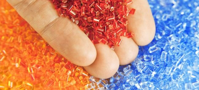 orange and blue plastic pellets