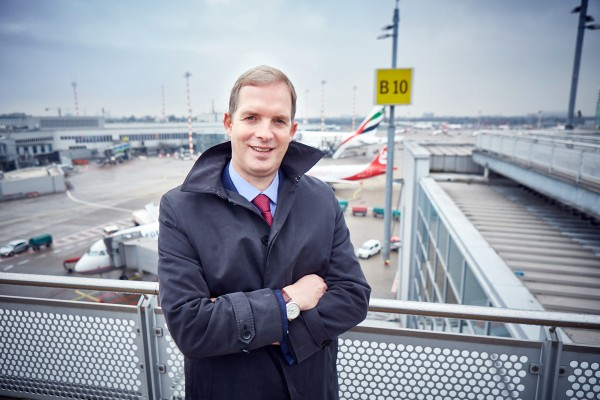 JON BIRRELL, HEAD OF EMEA KEY ACCOUNT TEAM on an airport.
