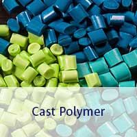 Cast polymer pellets in multiple colors