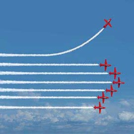 red airplanes flying in formation