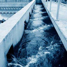 water flowing through treatment plant