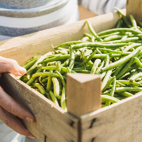 wooden box of green beans