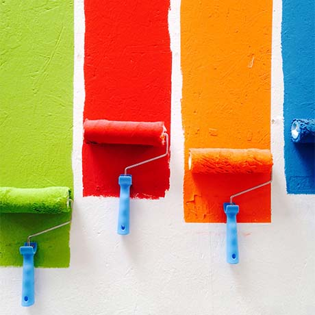 Paints with caustic soda rolling on wall