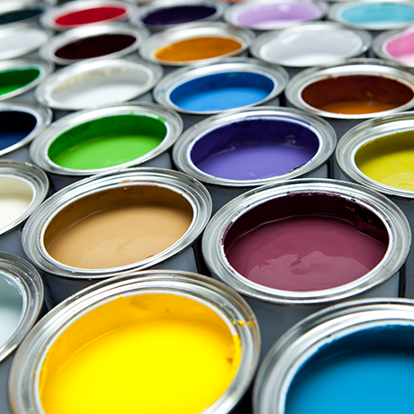 Can of different color paints