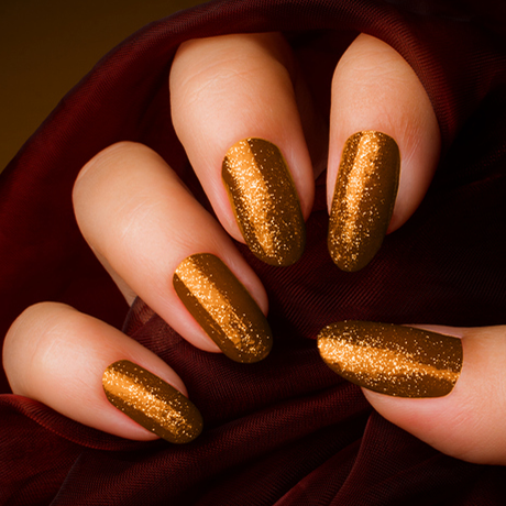 sparkly golden brown nails