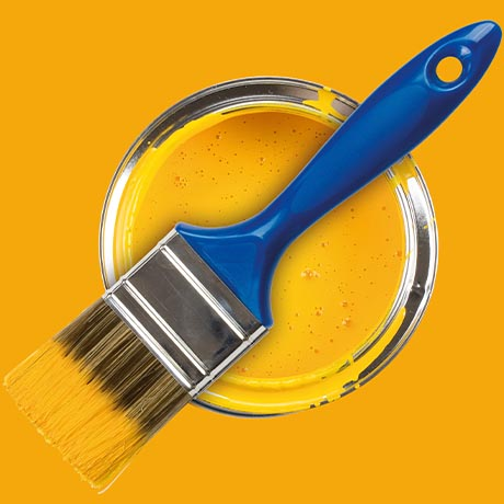 Yellow can of paint with blue paint brush