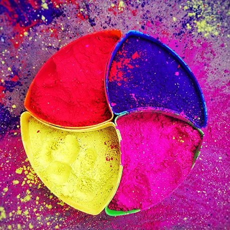 Colorful pigments in circle