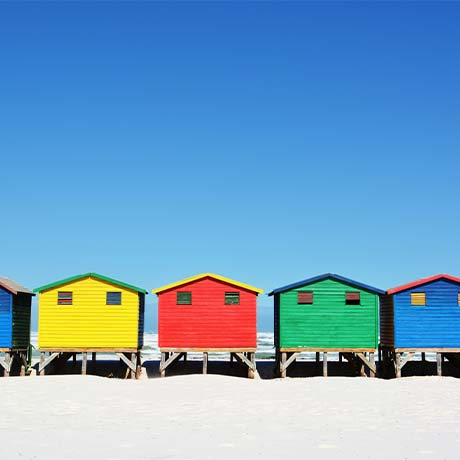 Row of colorful houses on the beach