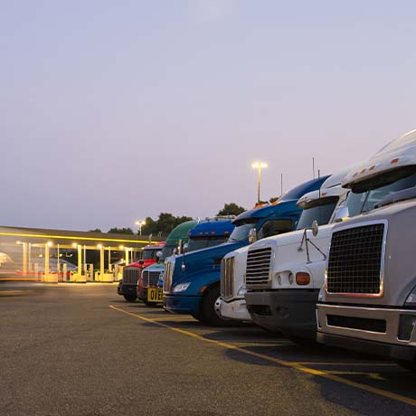Trucks in a line for DEF