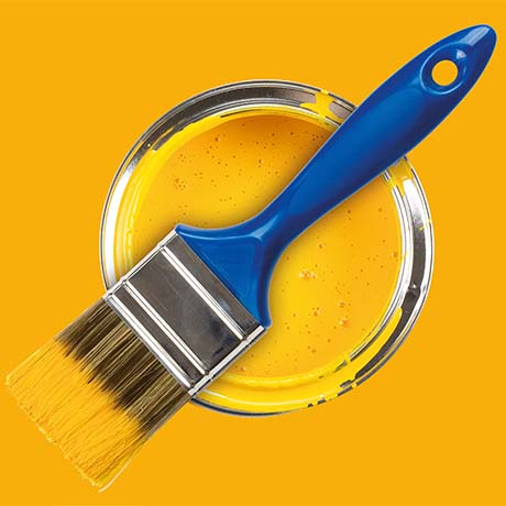 Yellow paint with bright blue brush