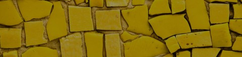 uneven yellow mosaic tiles