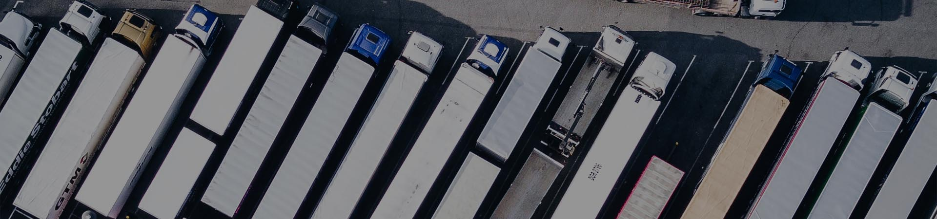 diagonally lined up trucks