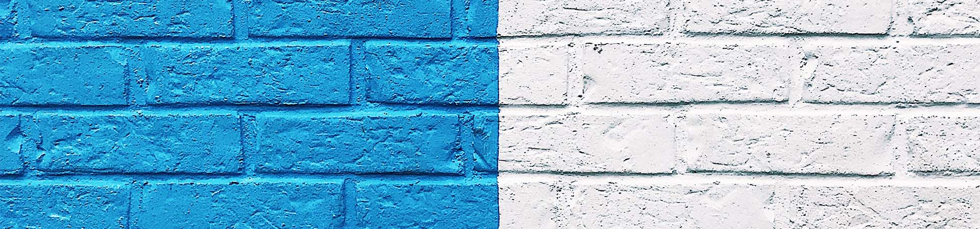 Blue and white painted bricks
