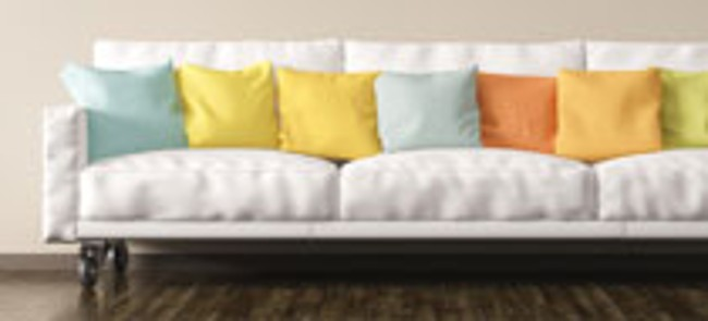 upholstered sofa with pillows