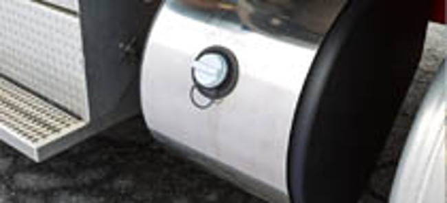 diesel exhaust fluid tank with blue cap