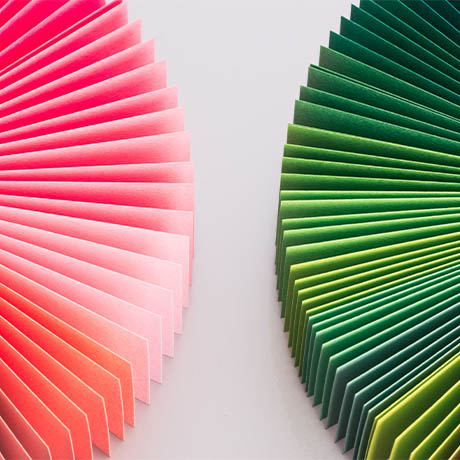Green and pink paper fans