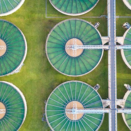 Birds eye view of water treatment plants
